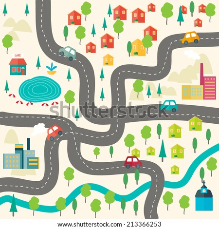 flat vector city map