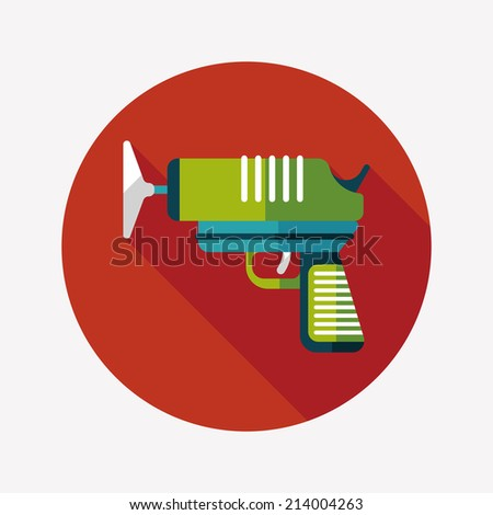toy gun flat icon with long