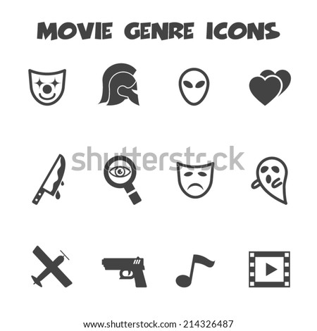 movie genre icons  mono vector