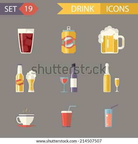 retro flat alcohol beer juice