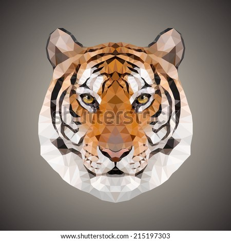 polygonal tiger vector