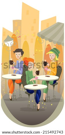 girls sitting in cafe in autumn
