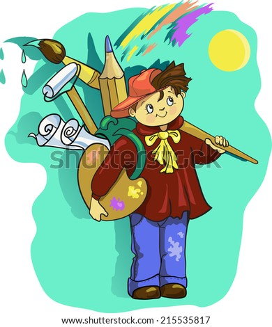 artist  cartoon boy with