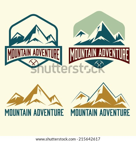 set of vintage labels mountain