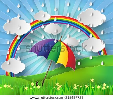 colorful umbrella in the rain