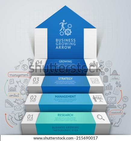 3d business arrow step