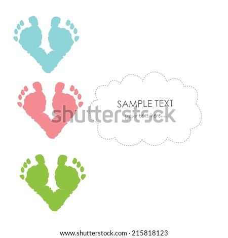 baby footprints vector greeting