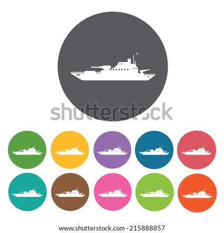 military ship icons set round
