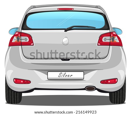vector car   back view   silver
