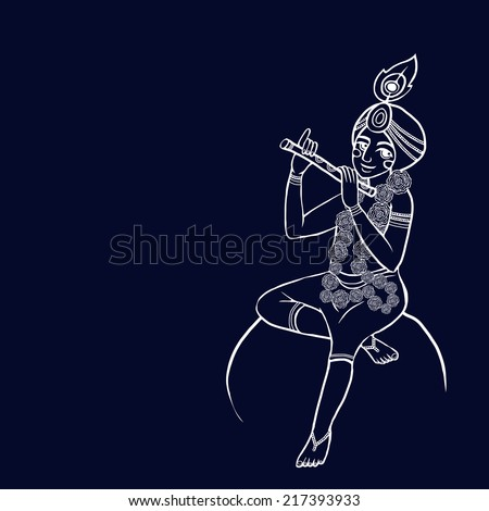 krishna with floral wreath sits