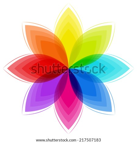 fantasy flower in rainbow colors
