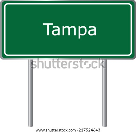 tampa  florida  road sign green