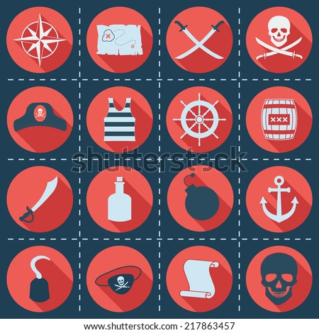 set of pirate or sea icons