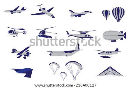 title  set of plane helicopter
