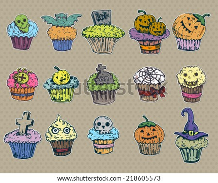 big set cupcake halloween in