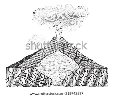 volcano  vintage engraved