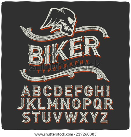 biker style dirty letters