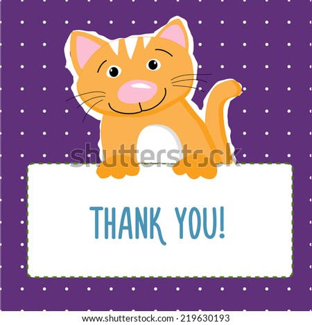 cat vector thank you card
