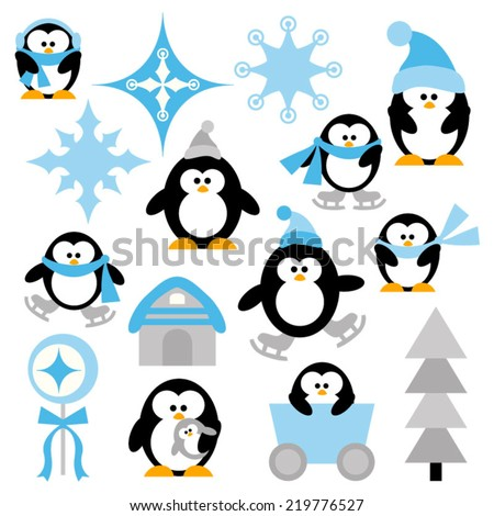 winter penguins vector clip art