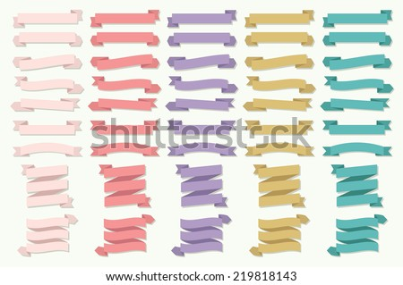 banner ribbon elements set