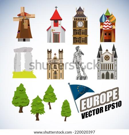 europe landmarks   vector