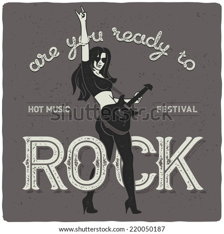 sexy rock girl with guitar