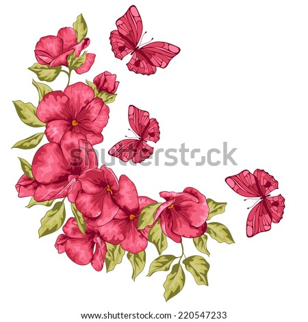 wedding card flowers and
