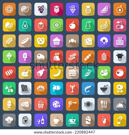 set of icons with food and