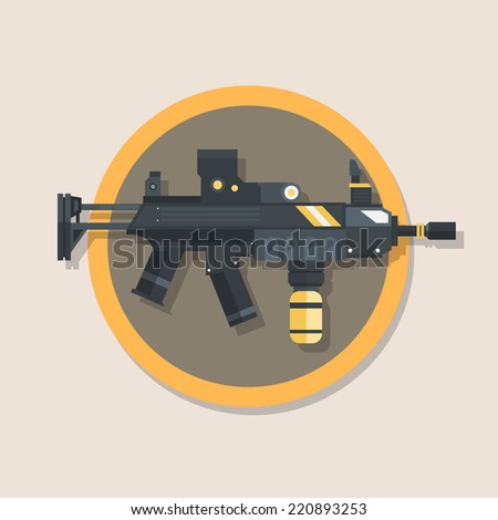 flat icon or machine gun