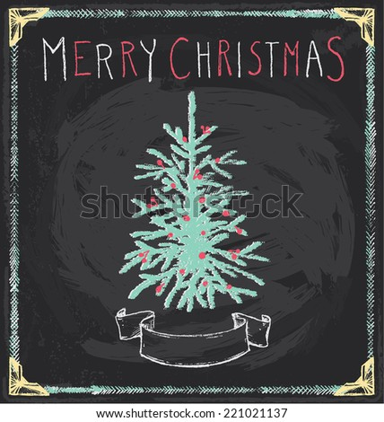 vintage merry christmas tree