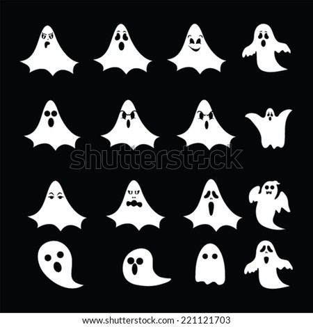 halloween ghosts vector set