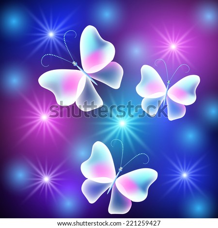 glowing butterflies with