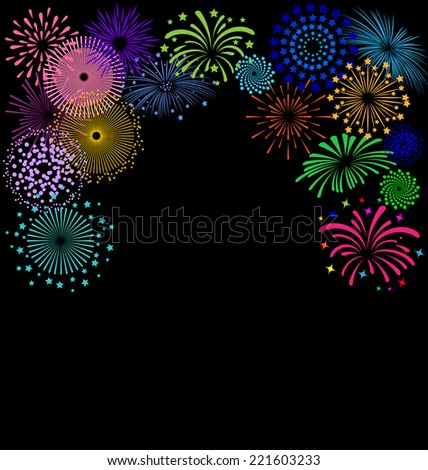 colorful fireworks  frame on