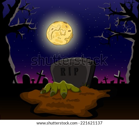 vector cartoon cemetery with