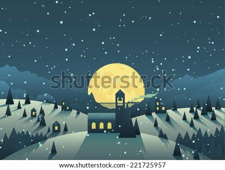 night snowfall in a cute little