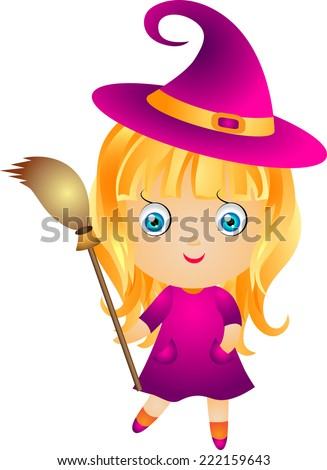 little cute witch with blond