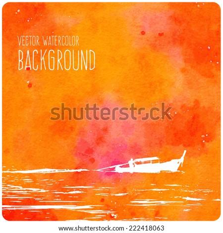 vector orange watercolor