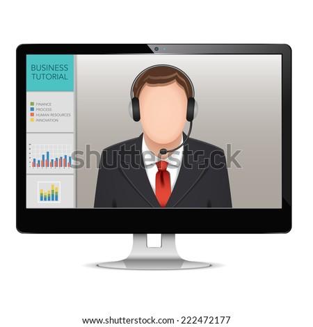 vector computer webinar concept