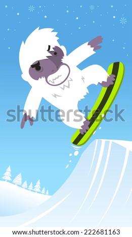 snowboard yeti skiing vector