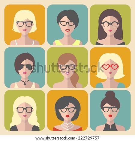 vector set of different women