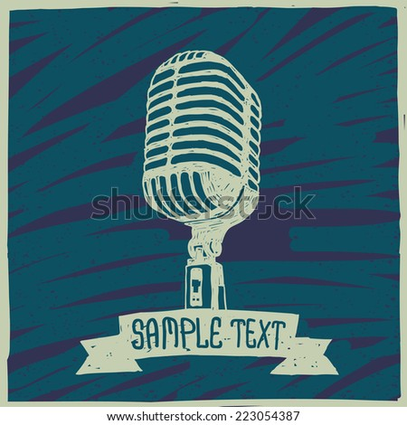 old microphone vector graphic