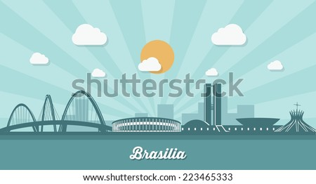 brasilia skyline    flat design