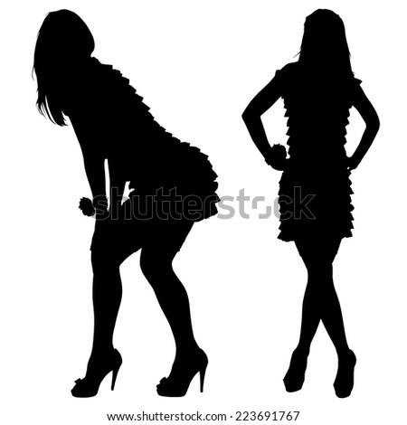 silhouette of the slender woman