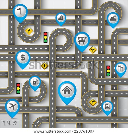 design road   street with map