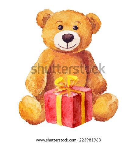 teddy bear sits with a red gift