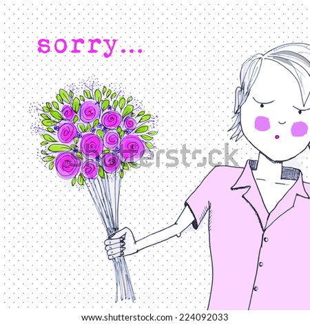 hand drawn greeting card sorry