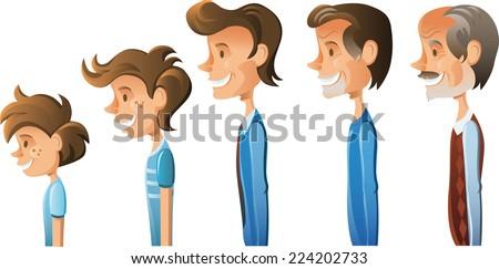 ages of men cartoon illustration