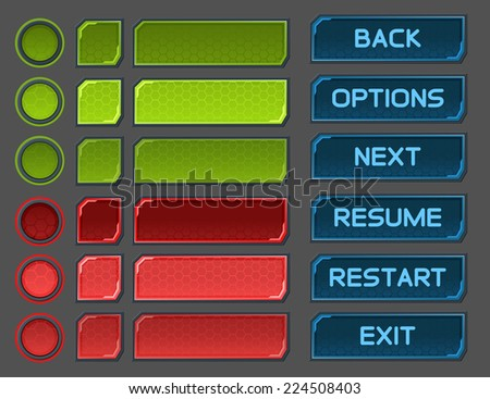 interface buttons set for space