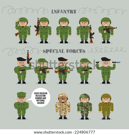 set of military men vector