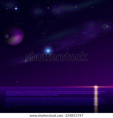starshine night on sea vector